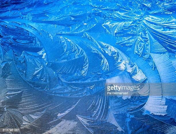 Patterns of ice on bonnet and windscreen of car