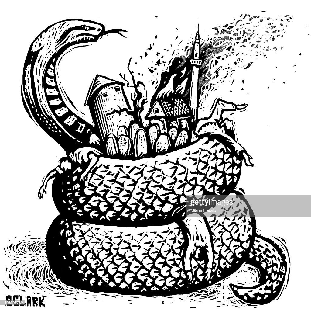 Patterson Clark B&W scratchboard-styel illustration of serpent curled around European-style village. Can be used with stories about Bosnian civil war.