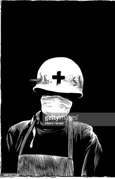 Patterson Clark BW scratchboardstyle illustration of Red Cross worker wearing mask to protect self from disease