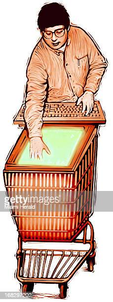 Patterson Clark color illustration of man pushing shopping cart top of cart looks like computer screen and man is holding computer keyboard