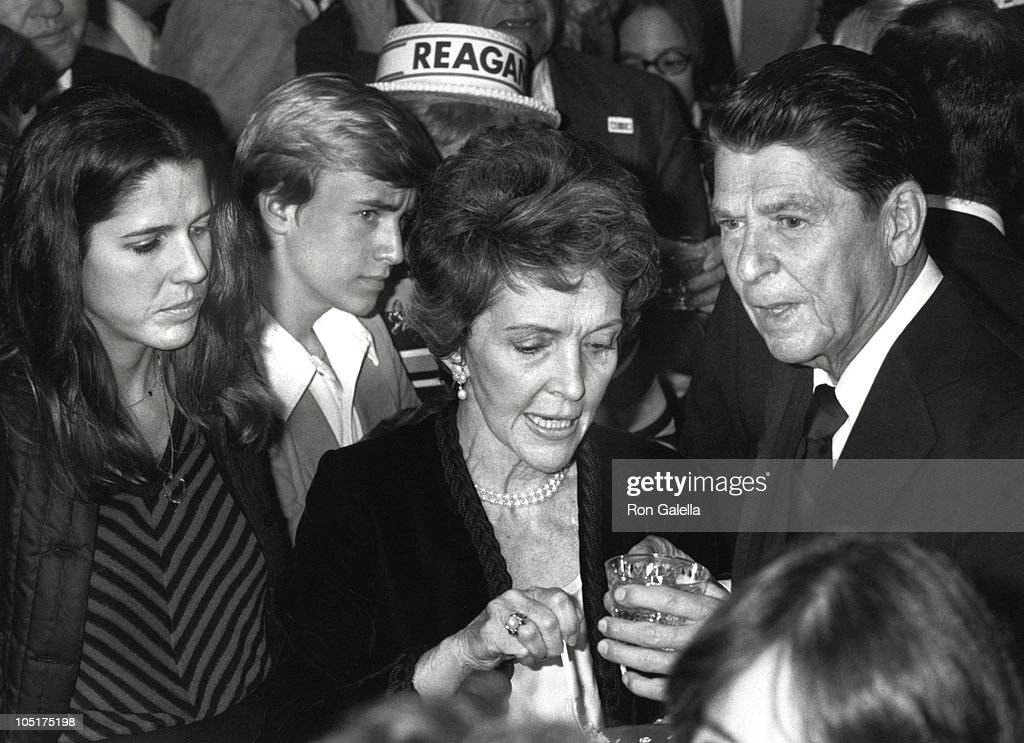 Patti Davis Nancy Reagan and Ronald Reagan during Ronald Reagan 69th birthday party and fundraiser in Los Angeles California United States