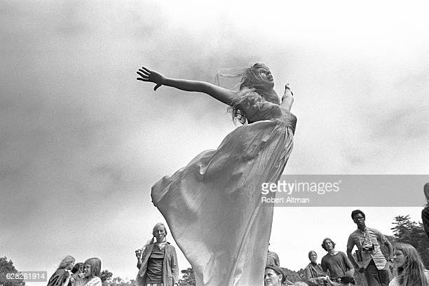 Patti flies in the air in front of a crowd on Mount Tamalpais circa 1969 in San Francisco California