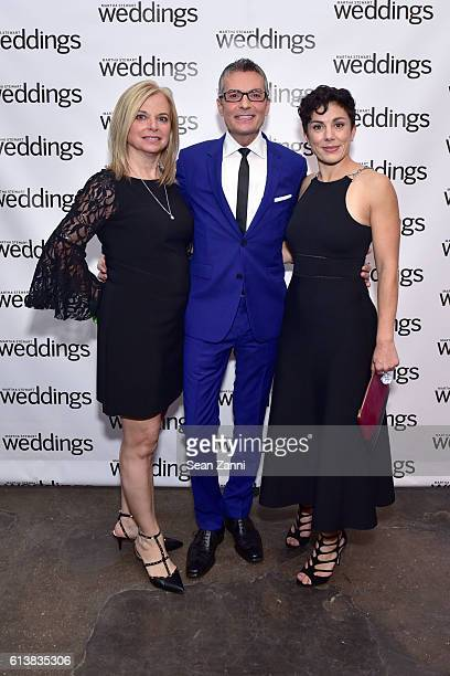 Patti Follo Randy Fenoli and Amy Conway attend Martha Stewart Weddings Bridal Fashion Week Party at Hudson Mercantile on October 10 2016 in New York...