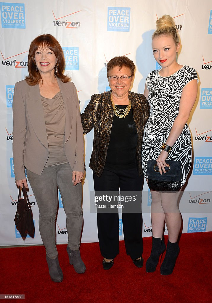 Patti Giggans, Executive Director of Peace Over Violence (C) and actresses <a gi-track='captionPersonalityLinkClicked' href=/galleries/search?phrase=Frances+Fisher&family=editorial&specificpeople=211520 ng-click='$event.stopPropagation()'>Frances Fisher</a> (L) and Francesca Eastwood (R) arrive at the 41st Annual Peace Over Violence Humanitarian Awards held at Beverly Hills Hotel on October 26, 2012 in Beverly Hills, California.