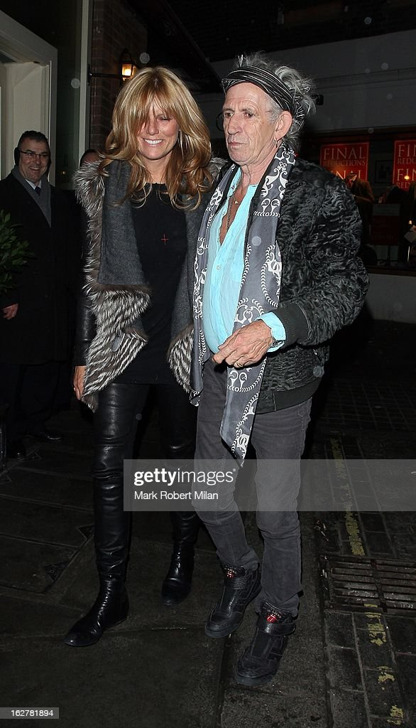 Patti Hansen and Keith Richards at Le Petit Mason restaurant on February 26, 2013 in London, England.