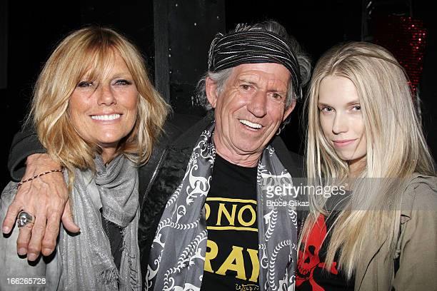 Patti Hansen Keith Richards and Theodora Richards pose backstage at the hit musical 'Kinky Boots' on Broadway at The Al Hirshfeld Theater on April 10...
