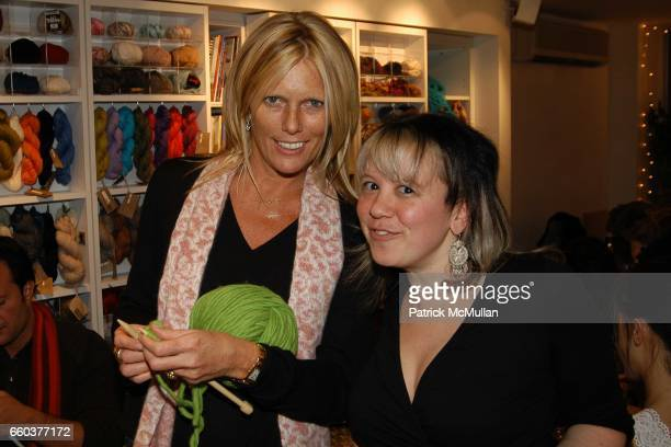 Patti Hanson and Knit NY owner Miriam Maltagliati attends IMG Models Knitting Party at Knit New York on February 5 2004 in New York City
