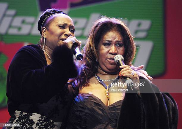 Patti LaBelle and Aretha Franklin during Tom Joyner's 'Mistletoe Jam' Comes to Detroit December 10 2005 at Joe Louis Arena in Detroit MI United States