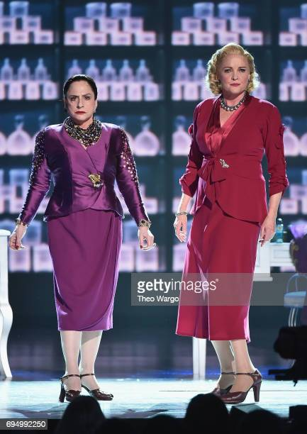 Patti LuPone and Christine Ebersole perform with the cast of 'War Paint' onstage during the 2017 Tony Awards at Radio City Music Hall on June 11 2017...