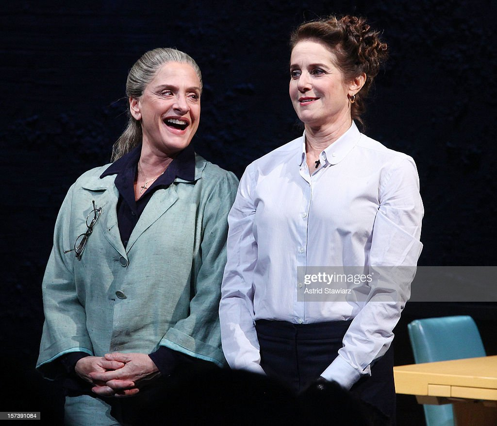 <a gi-track='captionPersonalityLinkClicked' href=/galleries/search?phrase=Patti+LuPone&family=editorial&specificpeople=239072 ng-click='$event.stopPropagation()'>Patti LuPone</a> (L) and <a gi-track='captionPersonalityLinkClicked' href=/galleries/search?phrase=Debra+Winger&family=editorial&specificpeople=226787 ng-click='$event.stopPropagation()'>Debra Winger</a> attend 'The Anarchist' Broadway opening night at John Golden Theatre on December 2, 2012 in New York City.