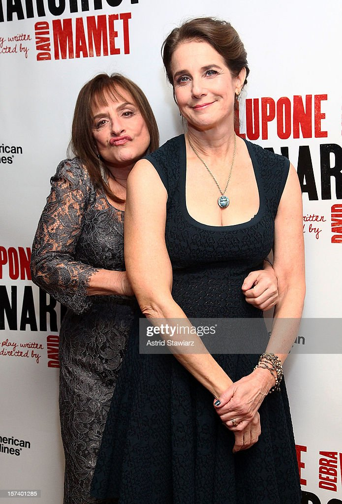 <a gi-track='captionPersonalityLinkClicked' href=/galleries/search?phrase=Patti+LuPone&family=editorial&specificpeople=239072 ng-click='$event.stopPropagation()'>Patti LuPone</a> and <a gi-track='captionPersonalityLinkClicked' href=/galleries/search?phrase=Debra+Winger&family=editorial&specificpeople=226787 ng-click='$event.stopPropagation()'>Debra Winger</a> attend 'The Anarchist' Broadway Opening Night After Party at The Red Eye Grill on December 2, 2012 in New York City.