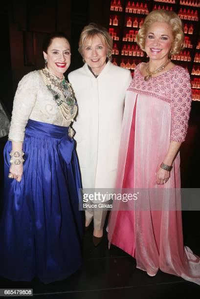 Patti LuPone as 'Helena Rubinstein' Hillary Clinton and Christine Ebersole as 'Elizabeth Arden' pose backstage after the opening night performance of...
