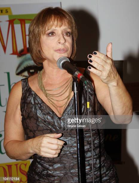 Patti LuPone performs at the 'Patti LuPone A Memoir' Book Launch Party at Vivian Beaumont Theatre at Lincoln Center on September 14 2010 in New York...