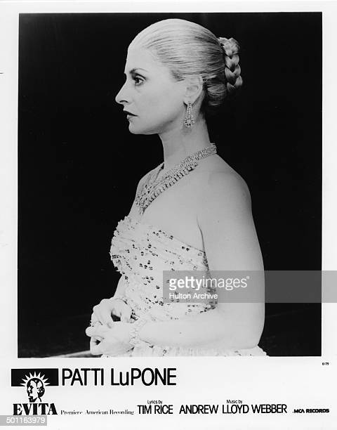 Patti LuPone performs on stage during the stage play Evita in 1979
