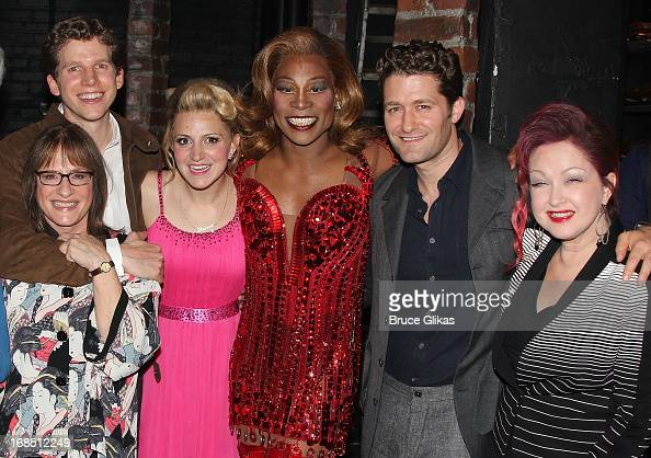 Patti LuPone Stark Sands Annaleigh Ashford Billy Porter as 'Lola' Matthew Morrison and Cyndi Lauper pose backstage at the hit musical 'Kinky Boots'...