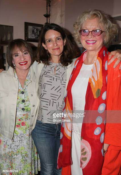 Patti LuPone Tina Fey and Christine Ebersole pose backstage at the musical 'War Paint' on Broadway at The Nederlander Theatre on July 5 2017 in New...