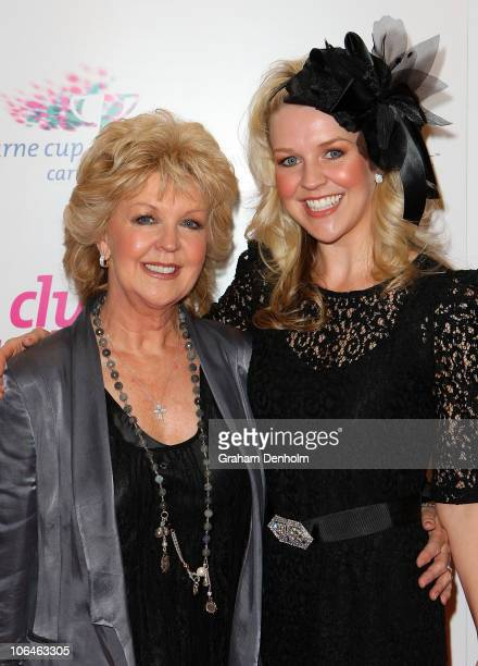 Patti Newton and her daughter Lauren arrive at the VRC Oaks Club luncheon ahead of Crown Oaks Day at the Crown Palladium on November 3 2010 in...