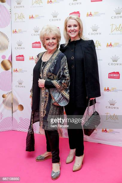 Patti Newton and Lauren Newton arrive ahead of the Crown Celebrity Mother's Day Luncheon on May 12 2017 in Melbourne Australia