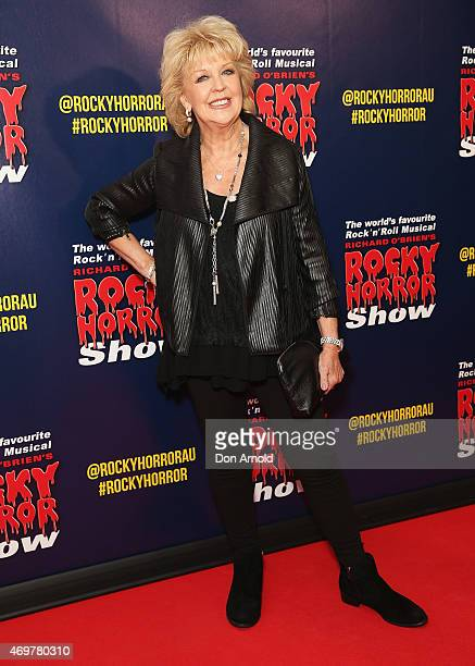 Patti Newton arrives at the opening night of the Rocky Horror Picture Show at the Lyric Theatre Star City on April 15 2015 in Sydney Australia