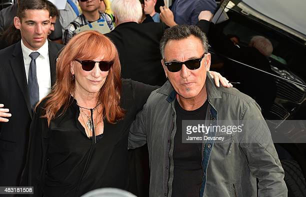 Patti Scialfa and Bruce Springsteen arrive to 'The Daily Show With Jon Stewart' at The Daily Show Building on August 6 2015 in New York City