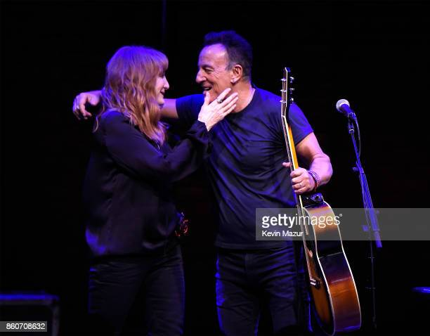 Patti Scialfa and Bruce Springsteen onstage during 'Springsteen On Broadway' at Walter Kerr Theatre on October 12 2017 in New York City