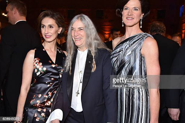 Patti Smith and Anna Kinberg Batra attend the Nobel Prize Banquet 2015 at City Hall on December 10 2016 in Stockholm Sweden