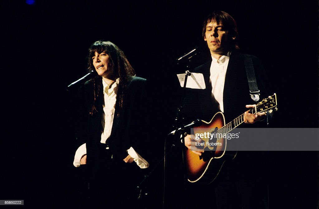 Photo of Patti SMITH and Fred Sonic SMITH; with Fred 'Sonic' Smith, performing live onstage