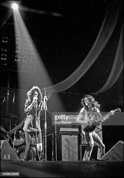 Patti Smith and Lenny Kaye of The Patti Smith Group perform on stage at Hammersmith Odeon London United Kingdom 23rd October 1976