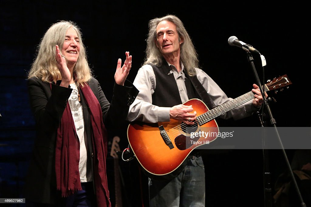Patti Smith and Lenny Kaye perform for the victims of the 2nd Avenue gas explosion that destroyed two East Village apartment buildings at Theatre 80 St. Marks on April 12, 2015 in New York City.