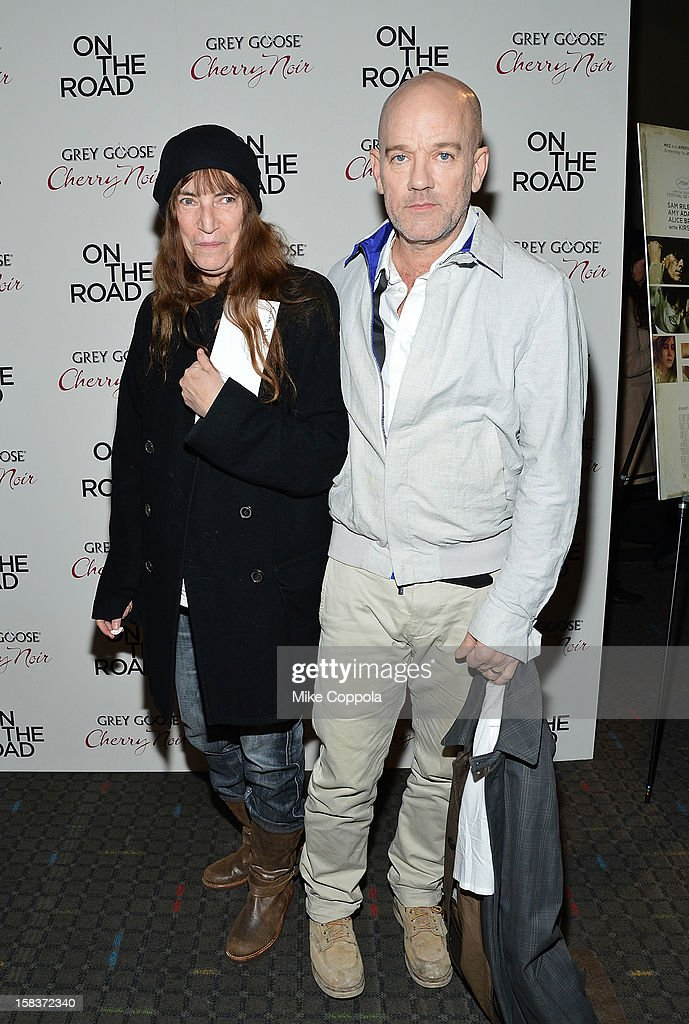 Patti Smith (L) and Michael Stipe attend 'On The Road' New York Premiere at SVA Theater on December 13, 2012 in New York City.