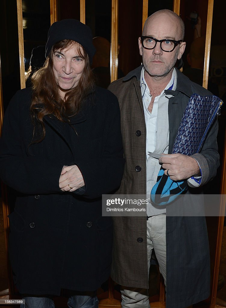 Patti Smith and Michael Stipe attend the after party for the 'On the Road' premiere at the Top of The Standard Hotel on December 13, 2012 in New York City.