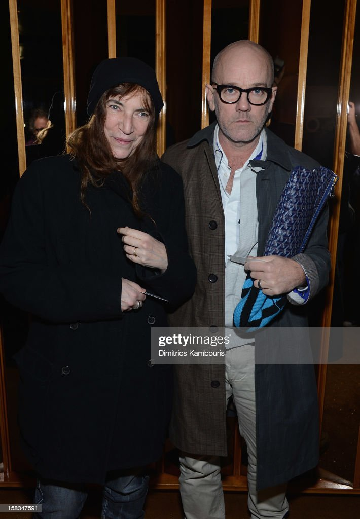 <a gi-track='captionPersonalityLinkClicked' href=/galleries/search?phrase=Patti+Smith+-+Godmother+of+Punk&family=editorial&specificpeople=221285 ng-click='$event.stopPropagation()'>Patti Smith</a> and <a gi-track='captionPersonalityLinkClicked' href=/galleries/search?phrase=Michael+Stipe&family=editorial&specificpeople=178318 ng-click='$event.stopPropagation()'>Michael Stipe</a> attend the after party for the 'On the Road' premiere at the Top of The Standard Hotel on December 13, 2012 in New York City.