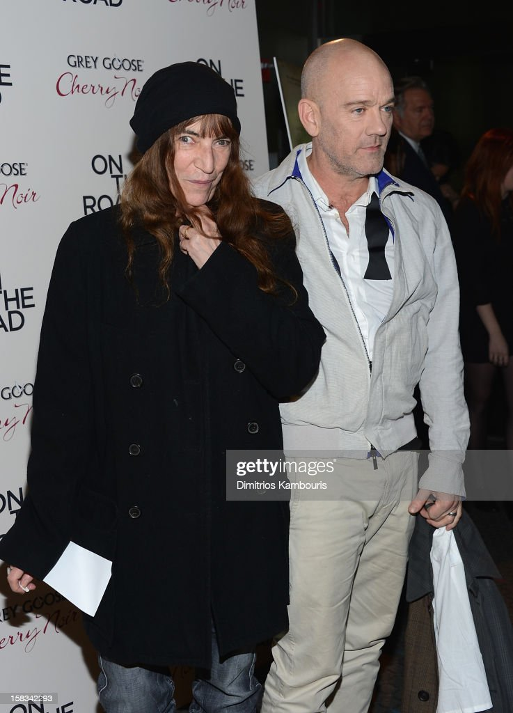 <a gi-track='captionPersonalityLinkClicked' href=/galleries/search?phrase=Patti+Smith+-+Madrina+del+Punk&family=editorial&specificpeople=221285 ng-click='$event.stopPropagation()'>Patti Smith</a> and <a gi-track='captionPersonalityLinkClicked' href=/galleries/search?phrase=Michael+Stipe&family=editorial&specificpeople=178318 ng-click='$event.stopPropagation()'>Michael Stipe</a> attend the 'On The Road' New York Premiere at SVA Theater on December 13, 2012 in New York City.