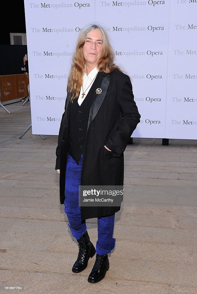 <a gi-track='captionPersonalityLinkClicked' href=/galleries/search?phrase=Patti+Smith+-+Godmother+of+Punk&family=editorial&specificpeople=221285 ng-click='$event.stopPropagation()'>Patti Smith</a> attends the Metropolitan Opera Season Opening Production Of 'Eugene Onegin' at The Metropolitan Opera House on September 23, 2013 in New York City.