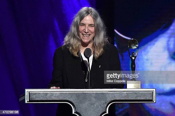Patti Smith inducts Lou Reed onstage during the 30th Annual Rock And Roll Hall Of Fame Induction Ceremony at Public Hall on April 18 2015 in...