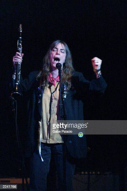 Patti Smith performing during the Tibet House US Benefit Concert 2001 with artistic director Philip Glass Dana Bryant Emmylou Harris Patti Smith...