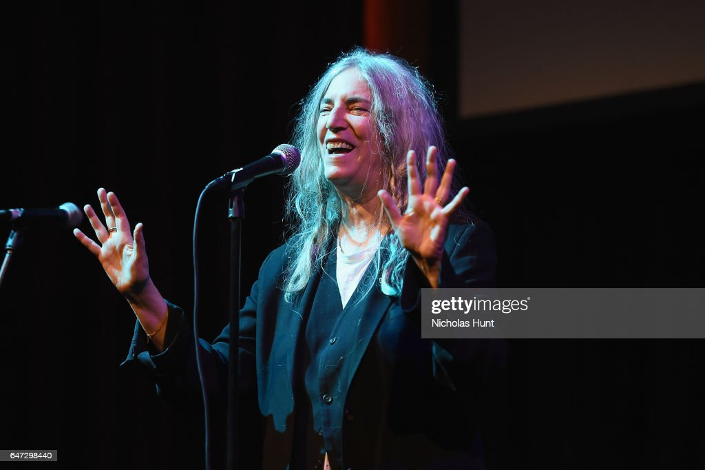 Patti Smith performs at The Anthology Film Archives Benefit and Auction on March 2, 2017 in New York City.