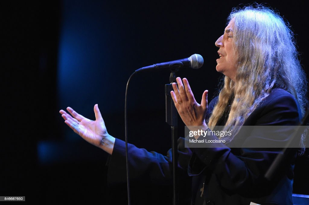 Patti Smith performs during the New York premiere of 'mother!' at Radio City Music Hall on September 13, 2017 in New York, New York.