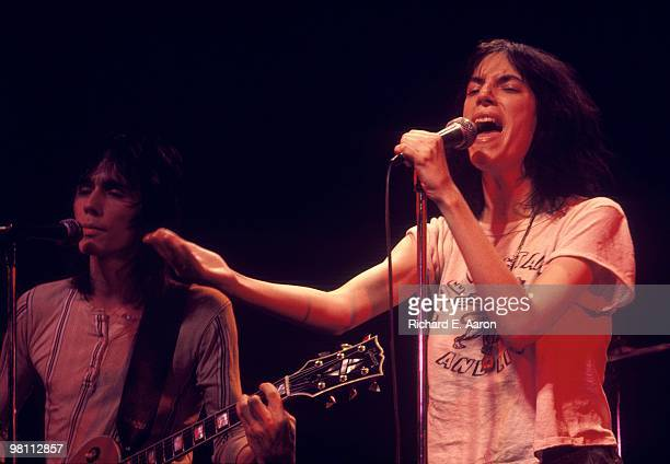 Patti Smith performs with Ivan Kral from The Patti Smith Group live on stage in Central Park New York on July 09 1976