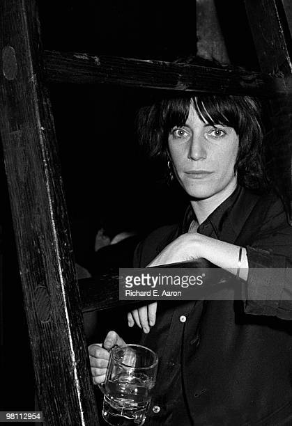 Patti Smith posed backstage before performing with the Patti Smith Group at CBGB's club in New York City on April 04 1975