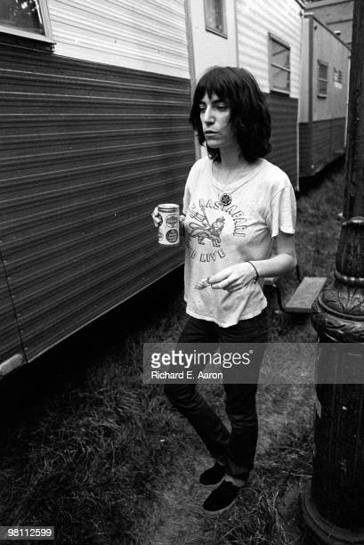 Patti Smith posed backstage in Central Park New York on July 09 1976