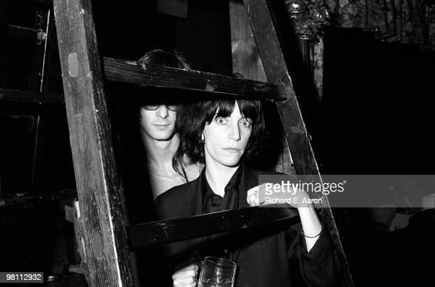 Patti Smith posed with Lenny Kaye from the Patti Smith Group at CBGB's club in New York City on April 04 1975