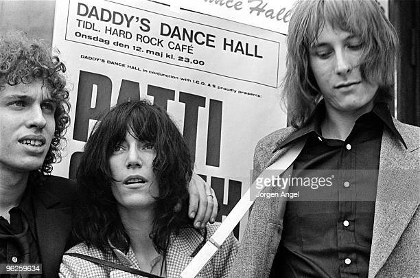 Patti Smith poses for a portrait with Richard Sohl and Jay Dee Daugherty in May 1976 in Copenhagen Denmark