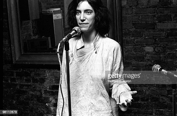 Patti Smith recites poetry on stage at a club called Local in New York City in 1975