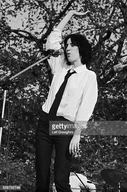 Patti Smith sings during a celebration for the end of the Vietnam War in New York's Central Park