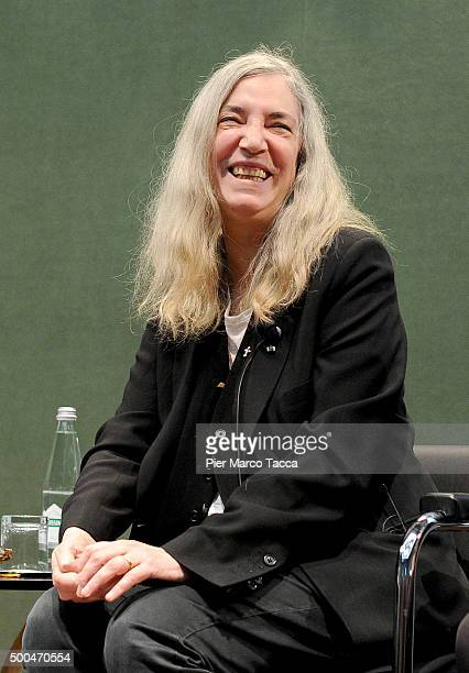Patti Smith talks during the Giovanna d'Arco meeting at the Fondazione Edison on December 8 2015 in Milan Italy