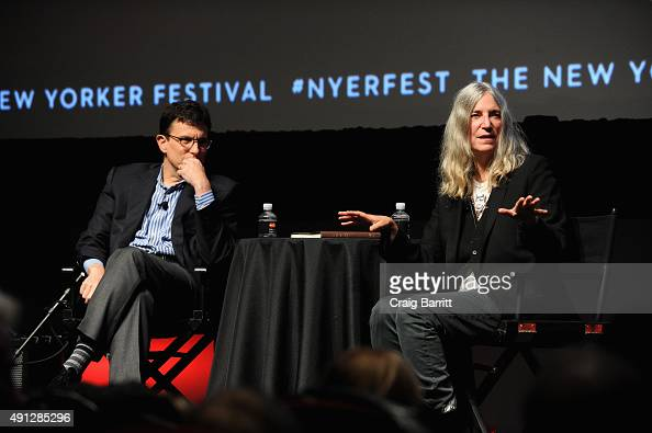 Patti Smith talks with journalist David Remnick on stage during The New Yorker Festival 2015 at SVA Theater on October 3 2015 in New York City