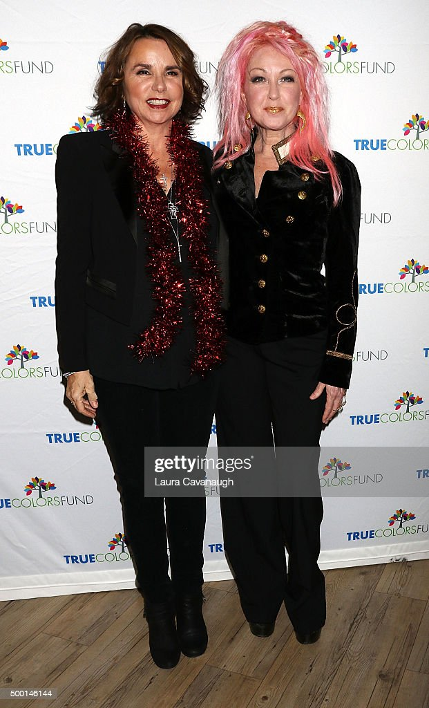 Patti Smyth and Cyndi Lauper attend 5th Annual 'Cyndi Lauper And Friends: Home For The Holidays' Benefit Concert at The Beacon Theatre on December 5, 2015 in New York City.