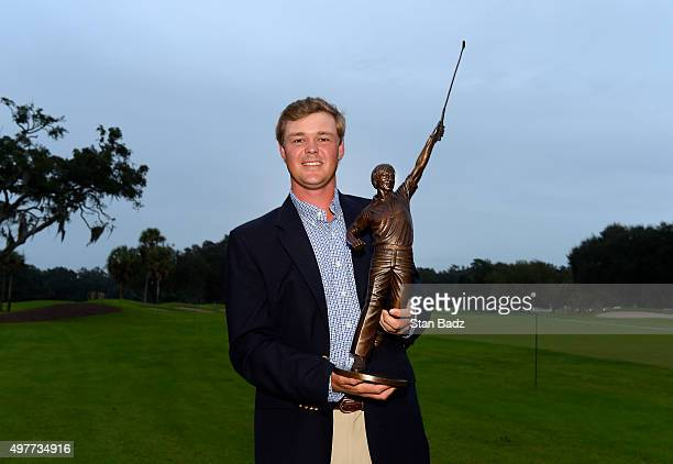 Patton Kizzire of Sea Island Ga is named the 2015 Webcom Tour Player of the Year in a vote of his fellow competitors is seen with his trophy...