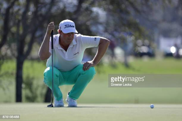 Patton Kizzire of the United States lines up a putt on the seventh green during the third round of The RSM Classic at Sea Island Golf Club Seaside...